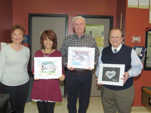 From L to R: Josephine Lepore, Art Teacher, Jeanne Barretta and Robert Nolan, Board Members, Joseph Hill, President, PAAE.